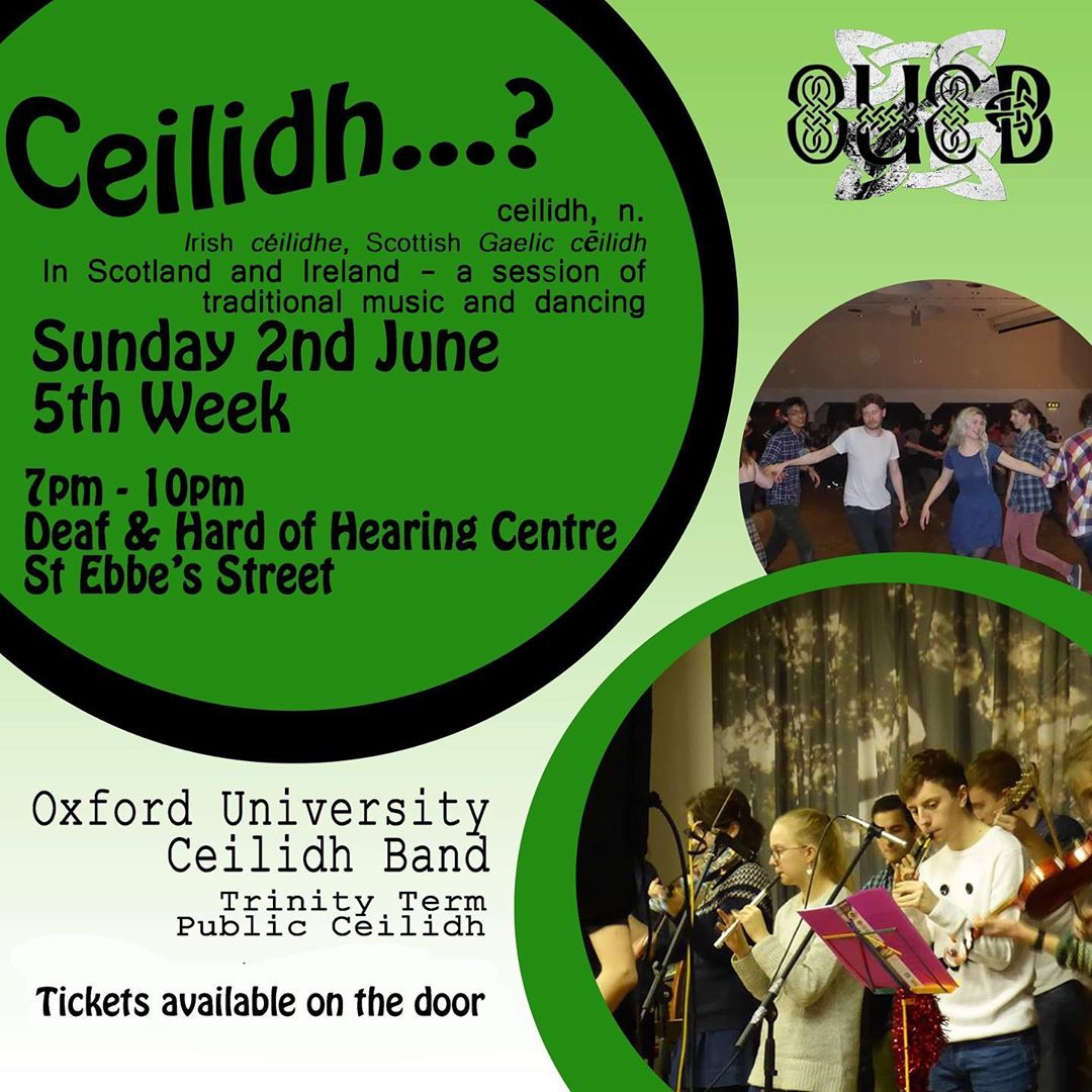 Poster for our public Ceilidh in Trinity 2019